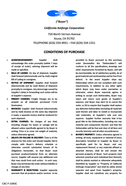 Conditions of Purchase - Page 1